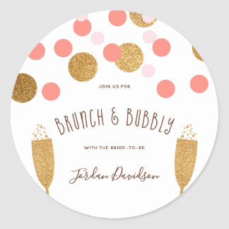Pink & Gold Confetti Champagne Brunch & Bubbly Classic Round Sticker