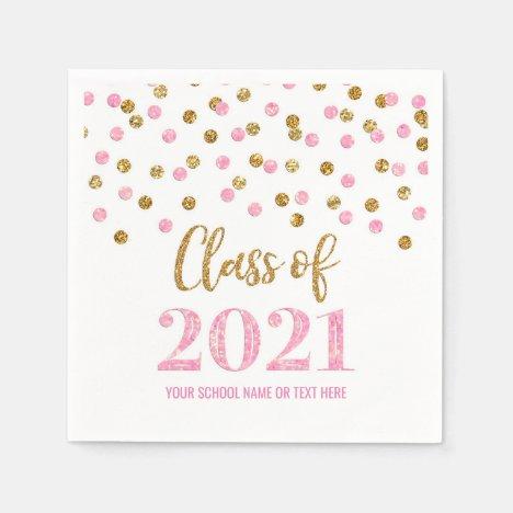 Pink Gold Confetti Class of 2021 Graduation Napkins