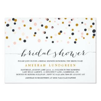 Pink & Gold Confetti Dots Bridal Shower Invitation