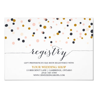 Pink Gold Confetti Dots Gift Registry Card