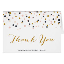 Pink & Gold Confetti Dots Thank You Card