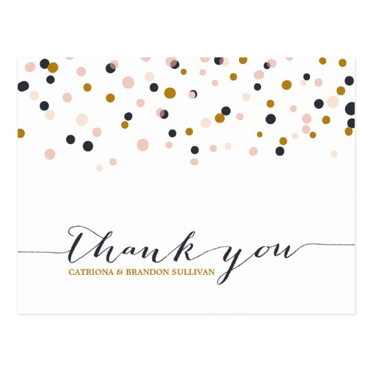 Pink & Gold Confetti Dots Thank You Postcard