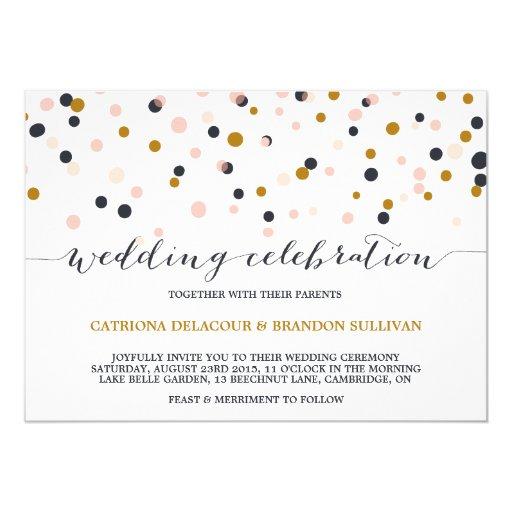 Pink & Gold Confetti Dots Wedding Invitation