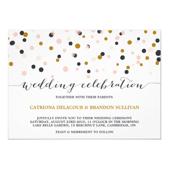 Together With Their Parents Wedding Invitation: Pink & Gold Confetti Dots Wedding Invitation