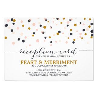 Pink Gold Confetti Dots Wedding Reception Card