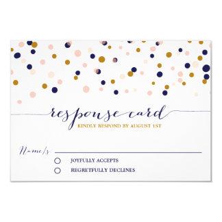 Pink & Gold Confetti Dots Wedding RSVP Card II