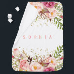 """Pink Gold Confetti Watercolor Floral Baby Girl Baby Blanket<br><div class=""""desc"""">Pink Gold Confetti Watercolor Floral Baby Girl</div>"""
