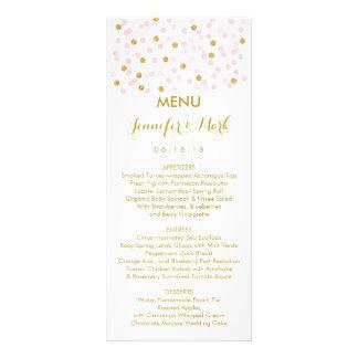 Pink & Gold Confetti Wedding Menu Cards