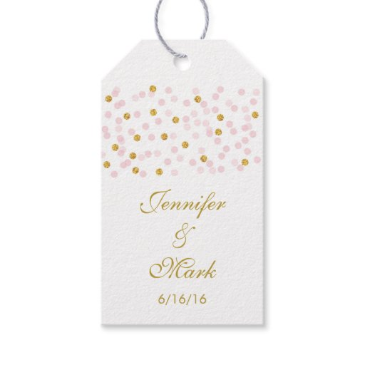 Pink & Gold Confetti Wedding Party Favor Tags