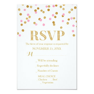 Pink Gold Confetti Wedding RSVP Cards