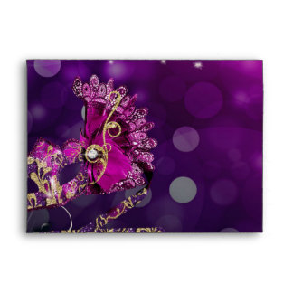 Pink & Gold Costume Masquerade Mask Birthday Party Envelope