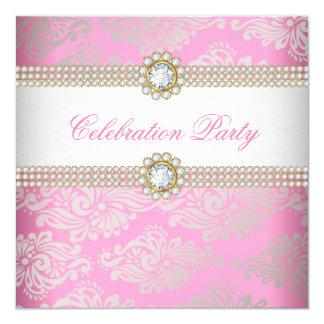 Pink Gold Cream Diamond Gem Elegant Party 2 Card