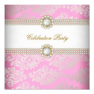 Pink Gold Cream Diamond Gem Elegant Party Invitation