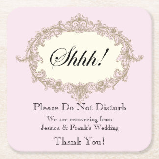 Pink Gold Cream Vintage Frame Do Not Disturb Square Paper Coaster