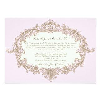 Pink Gold Cream Vintage Frame Wedding Welcome Card