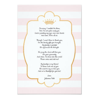 Pink Gold Crown Baby Shower Thank you note + poem Card