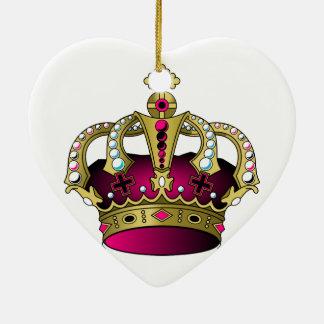 Pink & Gold Crown Ceramic Ornament