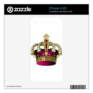 Pink & Gold Crown iPhone 4S Decal
