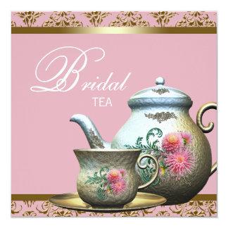 Pink Gold Damask Bridal Tea Shower Card
