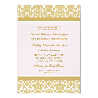 Pink Gold Damask Rehearsal Dinner Party Card