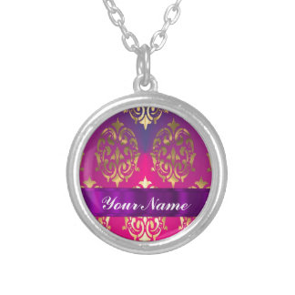 Pink & gold damask round pendant necklace