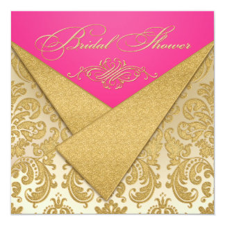 Pink, Gold Damask, Scroll Bridal Shower Invitation
