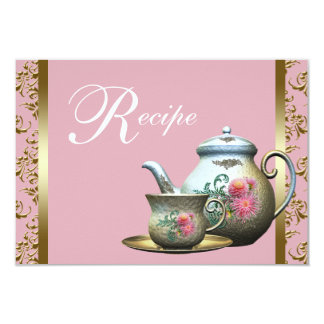Pink Gold Damask Tea Cup Recipe Cards Invites