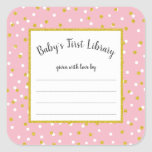 """Pink gold dot baby shower bookplate for girl<br><div class=""""desc"""">Ask your guests to &quot;bring a book instead of a card&quot; then have this sticker ready at the baby shower for guests to complete. Present the mother-to-be with a basket (or bathtub or carriage or bassinet, etc.) filled with &quot;Baby&#39;s First Library!&quot; Such a cute and meaningful addition to the traditional...</div>"""