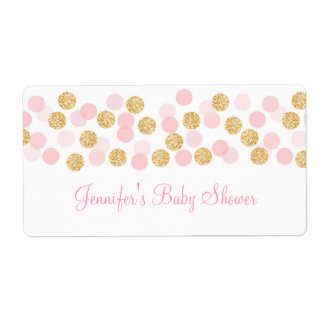 Pink & Gold Dot Water Bottle Stickers Label