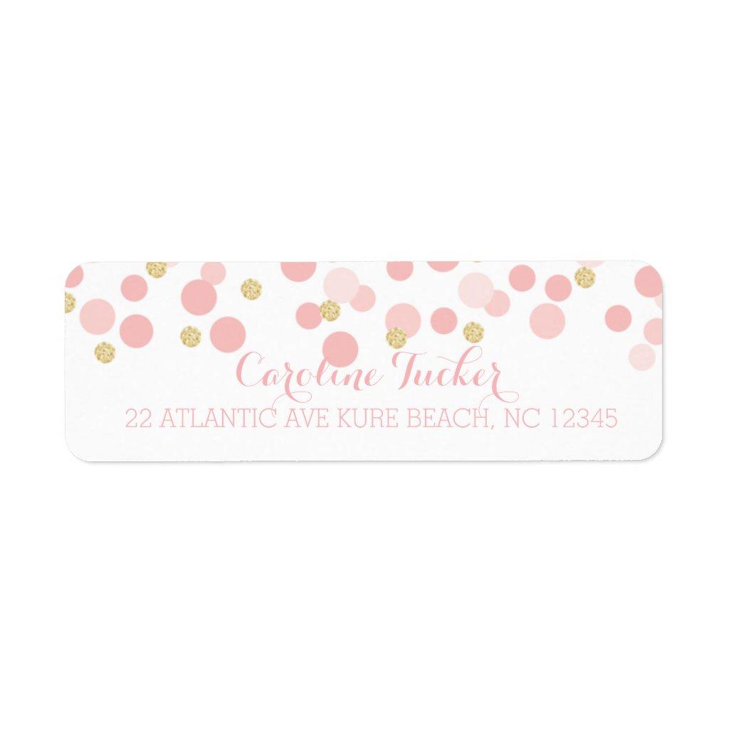 Pink Gold Dots Baby Shower Address Label