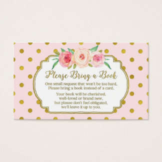 Pink Gold Dots Baby Shower Book Request Card