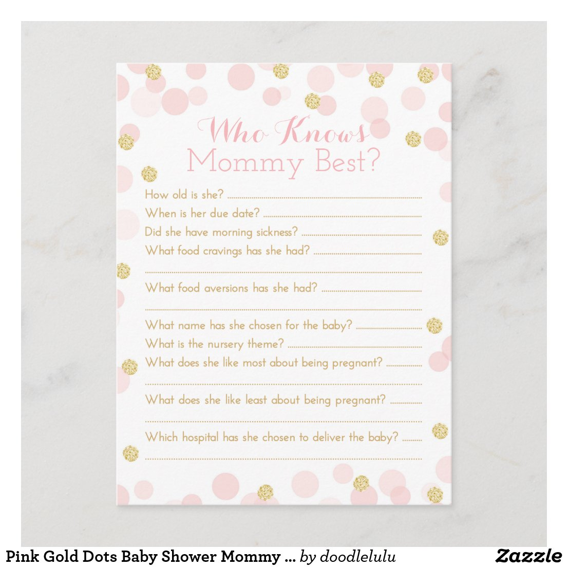 Pink Gold Dots Baby Shower Mommy Quiz Invitation Postcard