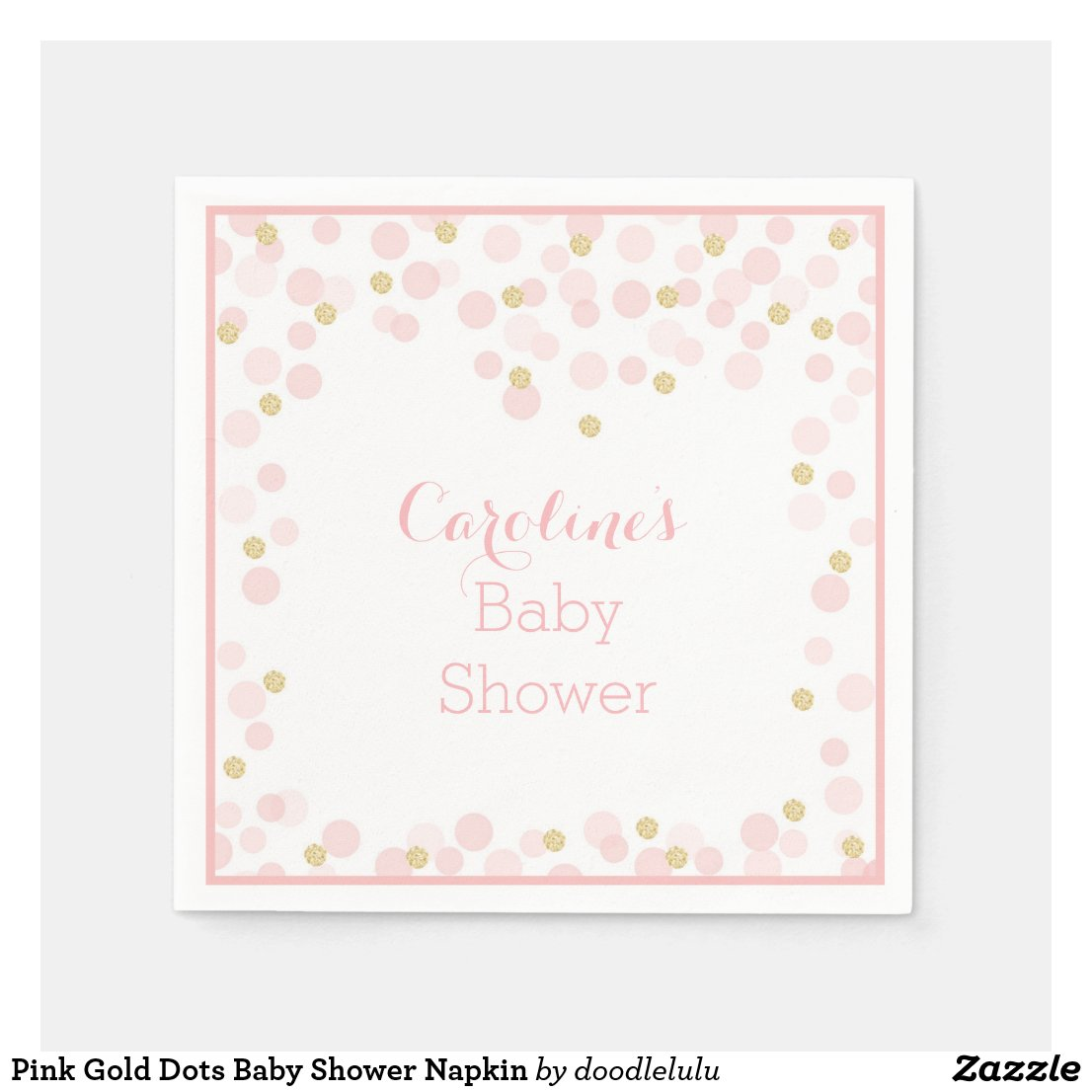 Pink Gold Dots Baby Shower Napkin
