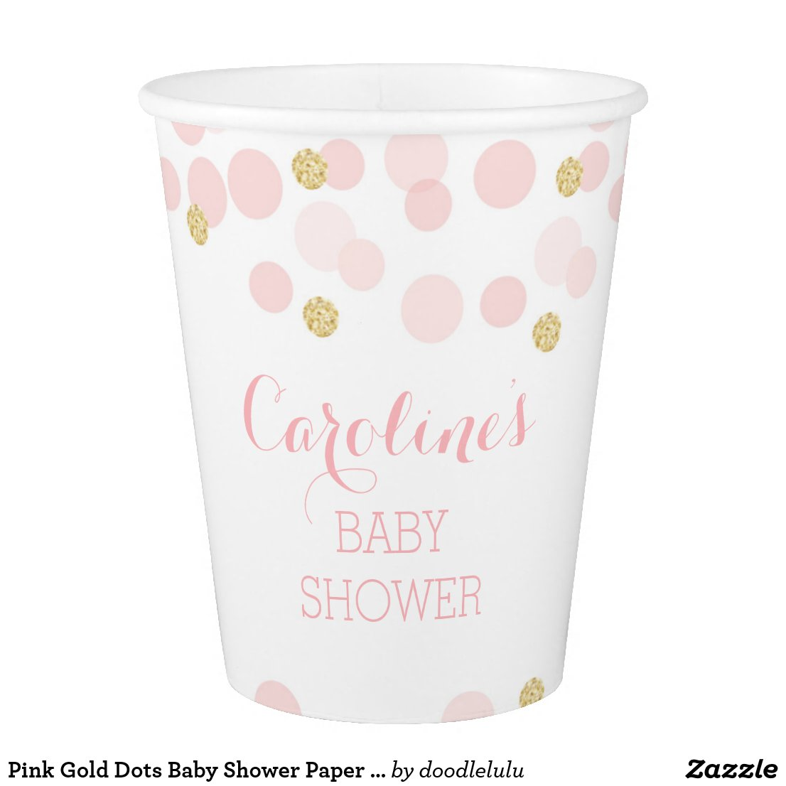 Pink Gold Dots Baby Shower Paper Cups