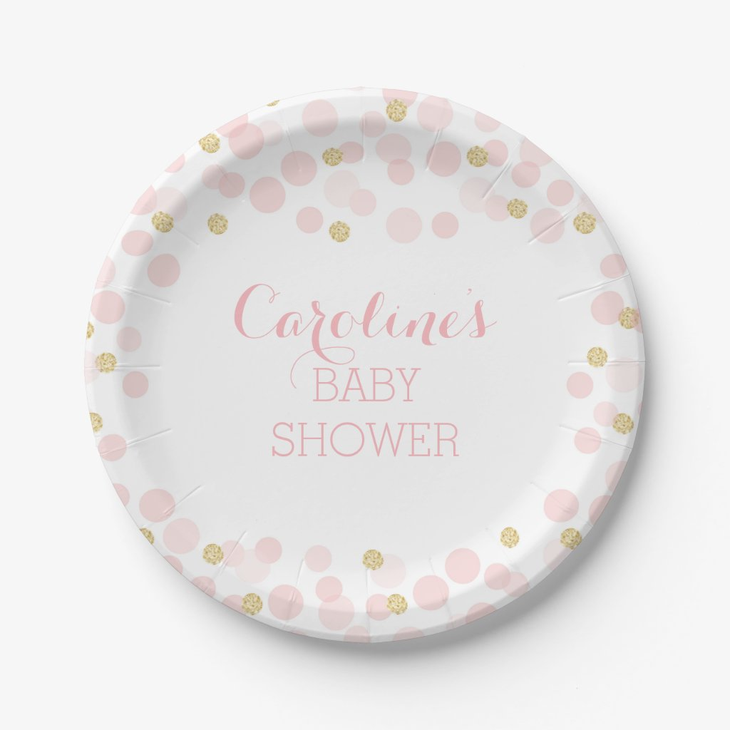 Pink Gold Dots Baby Shower Paper Plate