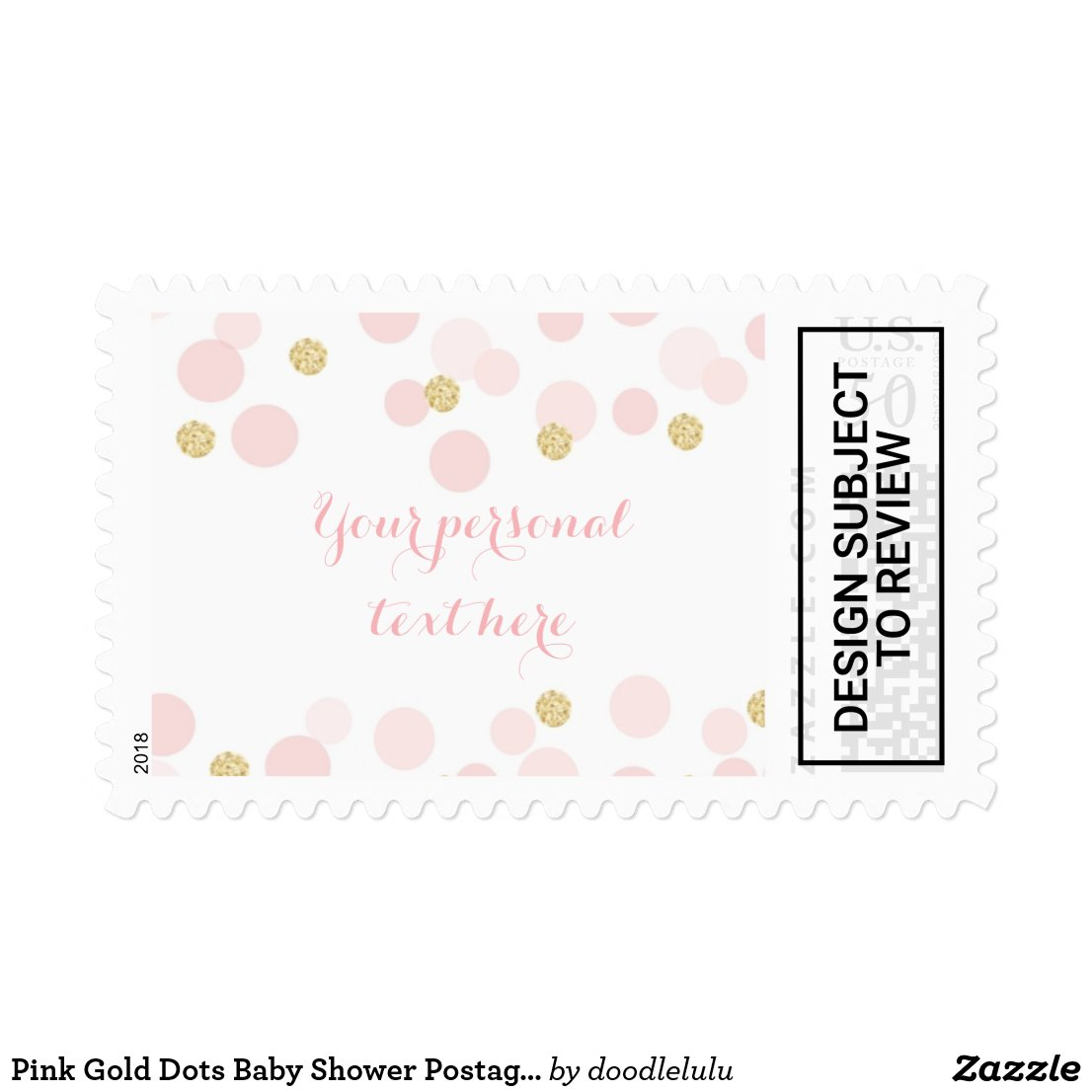 Pink Gold Dots Baby Shower Postage Stamp