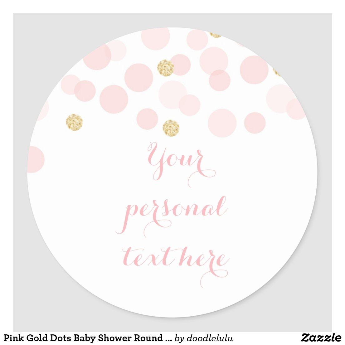Pink Gold Dots Baby Shower Round Sticker