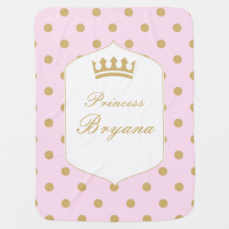 Pink & Gold Dots Royal Crown Princess Blanket