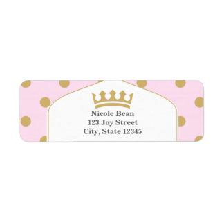 Pink & Gold Dots Royal Crown Princess Labels