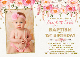 Baptism 1st Birthday Invitations Zazzle