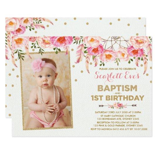 Pink Gold Dreamcatcher Baptism 1st Birthday Party Invitation