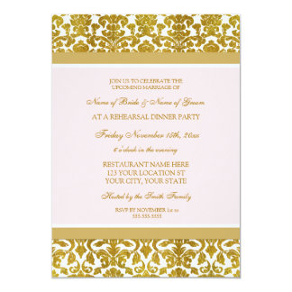 Pink Gold Effect Damask Rehearsal Dinner Party Card