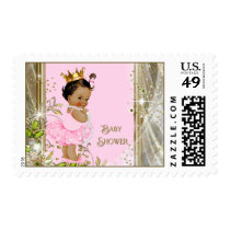 Pink Gold Ethnic Ballerina Princess Baby Shower Postage