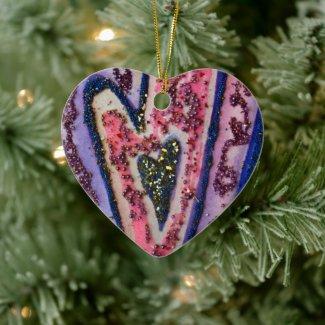 Pink Gold Faith Hearts Art Holiday Gift Ornaments