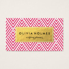 Pink & Gold Faux Foil Chevron Business Card at Zazzle