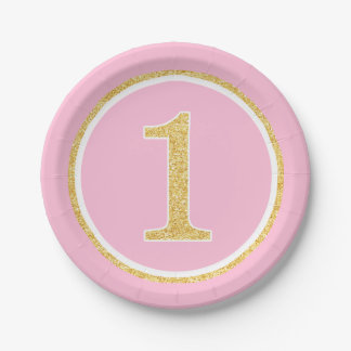 Pink Gold Faux Glitter Circle 1st Birthday 7 Inch Paper Plate