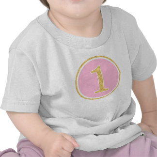 Pink Gold Faux Glitter Circle 1st Birthday Tshirts