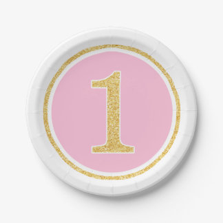 Pink Gold Faux Glitter Circle First Birthday 7 Inch Paper Plate