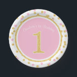 "Pink Gold Faux Glitter Confetti 1st Birthday Name Paper Plate<br><div class=""desc"">Chic pink and gold 1st birthday paper plates. Easily personalize with your child&#39;s name to make these a special touch to your party. Designs are flat printed graphics - NOT ACTUAL GLITTER.</div>"