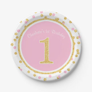 Pink Gold Faux Glitter Confetti 1st Birthday Name Paper Plate